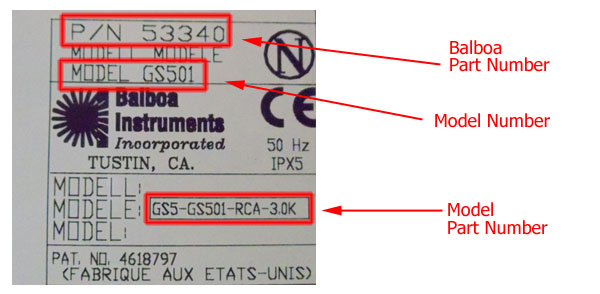 Balboa System Part and Model Number