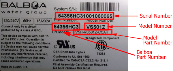 Balboa System Model and Part Number Location